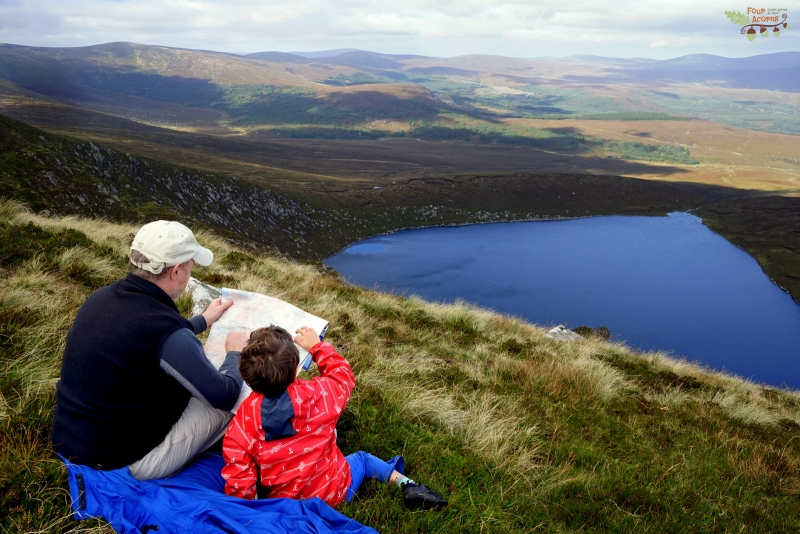 map-reading-father-son-lough-ouler-wicklow-ireland