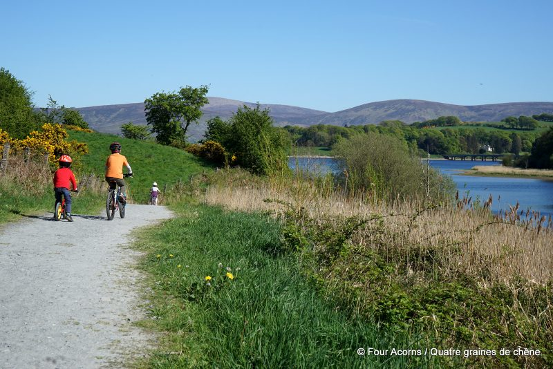 Blessington-greenway-lake-children-cycling-Wicklow