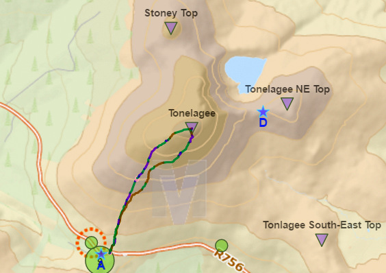 tonelagee-hiking-route-map-lough-ouler-wicklow-ireland