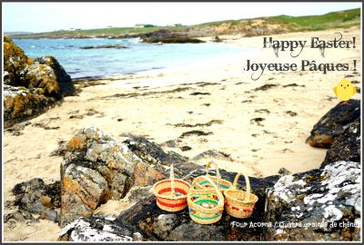 Easter, eggs, egg hunt, chocolate, Easter bunny, beach, Connemara, Clifden, baskets, Pâques, oeufs, chocolat, chasse aux oeufs, Irlande, Ireland