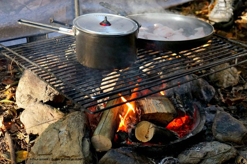 campfire-cooking-MSR-pot-frying-pan-outdoors