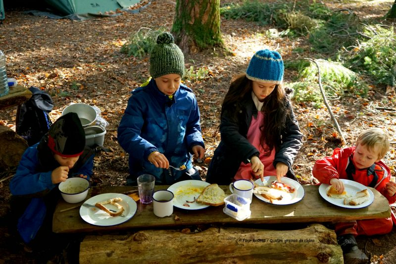 four-acorns-eating-breakfast-outdoors-camping