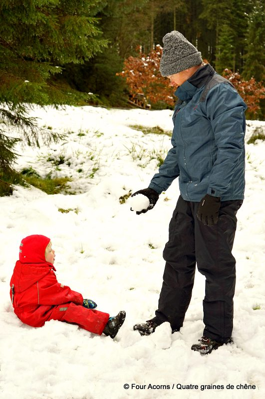 father-son-snowball