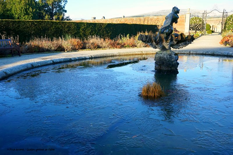 powerscourt-walled-garden-herbaceous-borders-frozen-pond-statue