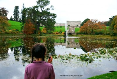 girl-audioguide-powerscourt-house-triton-lake-autumn