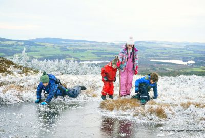 four-children-testing-ice-winter-wonderland-wicklow