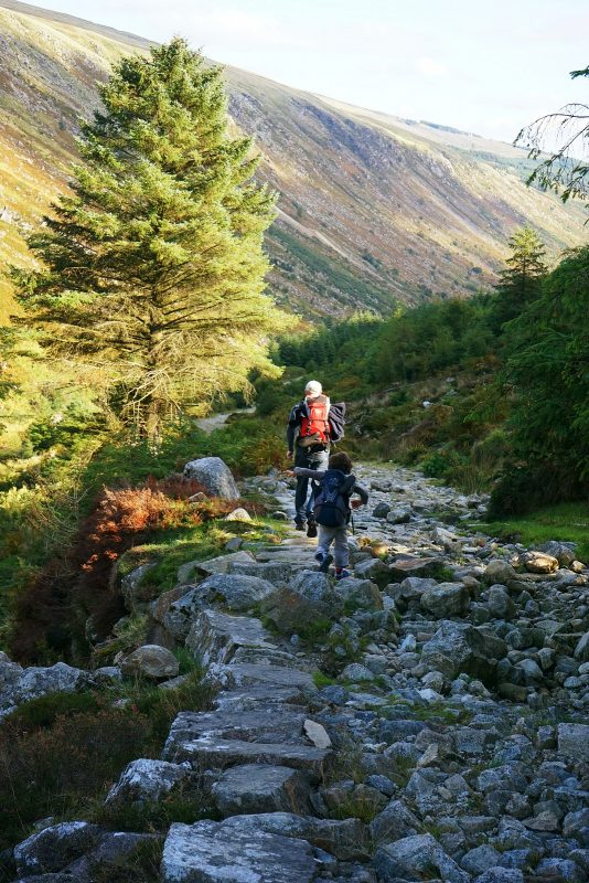 father-child-hiking-glenmalure-wicklow-ireland