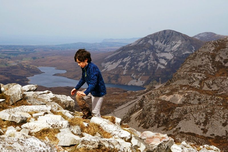 child-hiking-errigal-scree-donegal-ireland