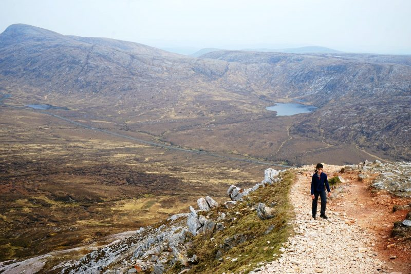 pink-quartzite-scree-trail-girl-hiking-lough-donegal